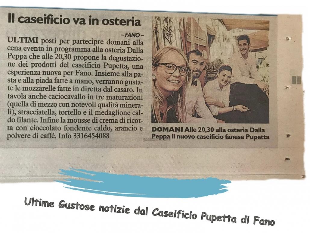 Ultime notizie da un quotidiano di Fano dal Caseificio Pupetta